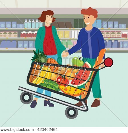 Woman And Man At Supermarket Flat Style Illustration. Family Shopping Illustration. Family Is Shoppi