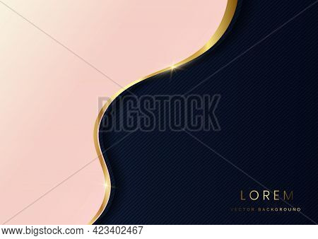 Abstract Luxury Background Soft Pink 3d Layer With Gold Lines Curve On Dark Blue Background. Luxury