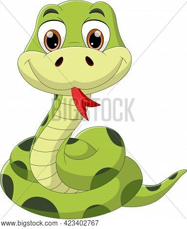 Cartoon Snake Posing And Sticking Out Tongue On White Background