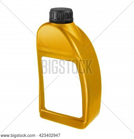 Plastic Canister Isolated On White Background. Close-up Gold Canister With A White Label And A Black