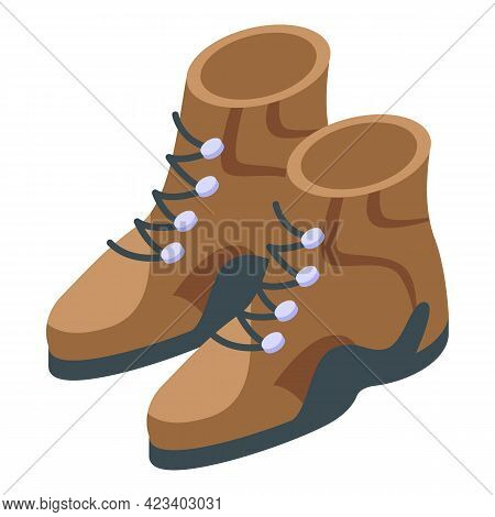 Hike Boots Icon. Isometric Of Hike Boots Vector Icon For Web Design Isolated On White Background