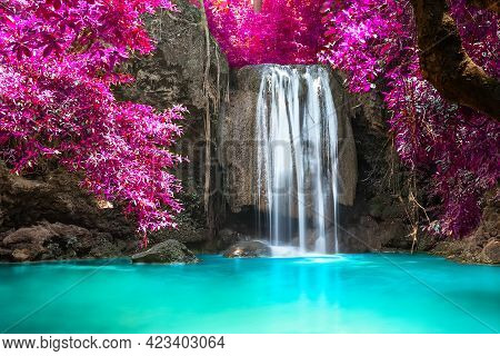 Beautiful Waterfall In Forest At Erawan National Park In Thailand.