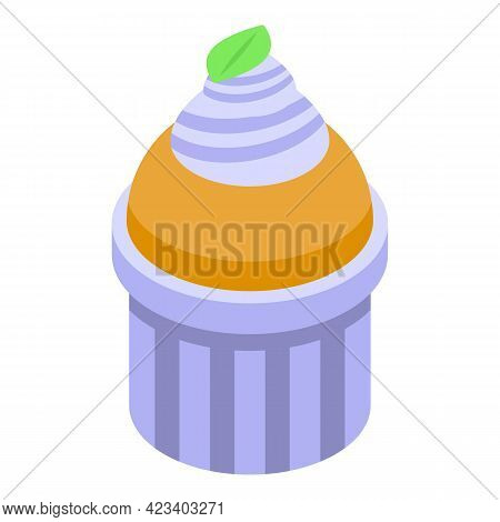 Bake Muffin Icon. Isometric Of Bake Muffin Vector Icon For Web Design Isolated On White Background