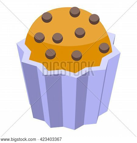 Pastry Muffin Icon. Isometric Of Pastry Muffin Vector Icon For Web Design Isolated On White Backgrou