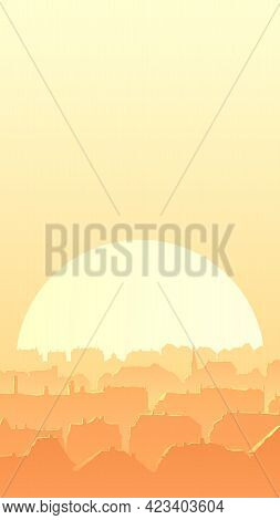 Vertical Vector Illustration Of Old Historical Part Of The European City And Roofs Reflecting Rays O