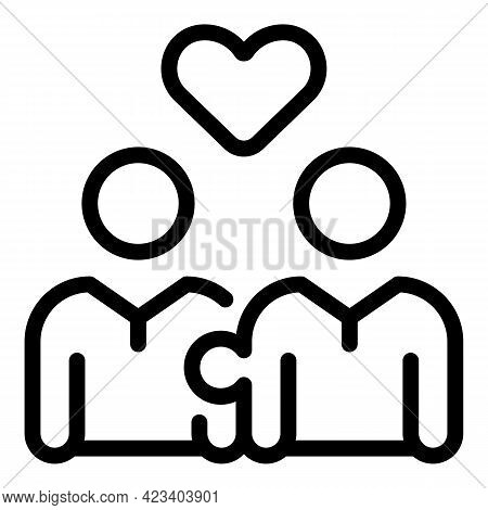 Trust Relationship Icon. Outline Trust Relationship Vector Icon For Web Design Isolated On White Bac