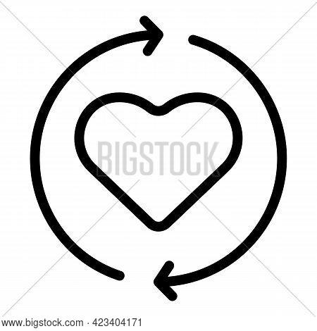 Heart Trust Relationship Icon. Outline Heart Trust Relationship Vector Icon For Web Design Isolated
