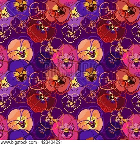Vector Illustration Of Floral Seamless Pattern. Pink, Red, Yellow, Purple Flowers On A Dark Backgrou