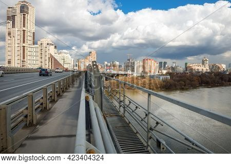 Moscow - April 3, 2021: View From The Zhivopisny Bridge In Moscow, Russia. It Is The Highest Suspens