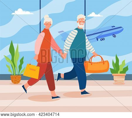 Elderly Couple In Airport Terminal Holding Hands. Male And Female Characters In Airport With Suitcas