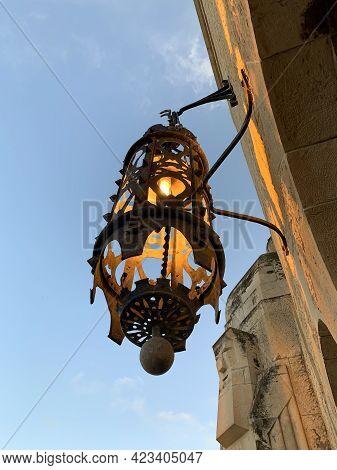 Jerusalem, Israel - March 08, 2021: Lantern On The Building Of Jerusalem International Ymca - Young