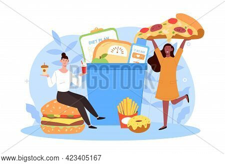 Two Happy Women Are Eating Tasty Junk Food Breaking Diet Together. Concept Of People Refusing To Eat
