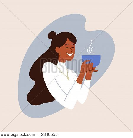 Happy Smiling Female Character Is Enjoing Her Coffee. Young Woman Is Drinking Fresh Hot Coffee From