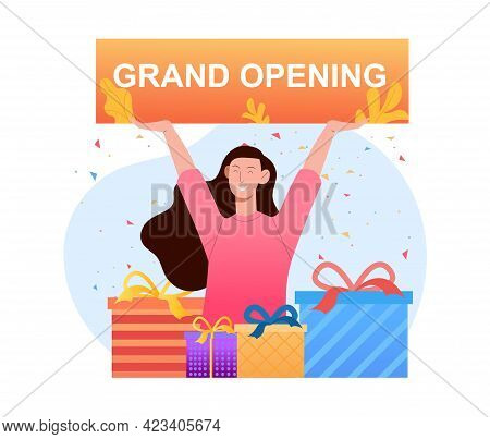 Young Smiling Female Character Is Holding Sign With Grand Opening Lettering. Concept Of Event Grand