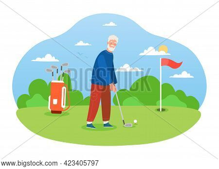 Male Grey Pensioner Is Playing Golf On Pastime In The Field Alone. Concept Of Aristocratic Hobby For