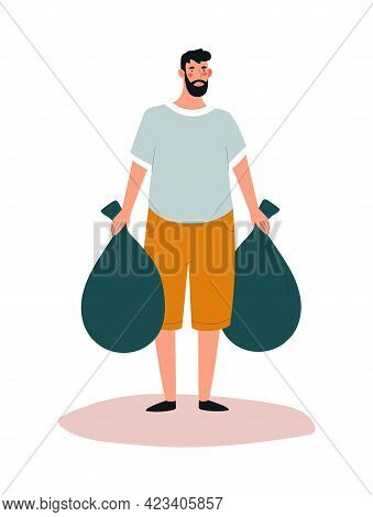Young Smiling Male Character Is Collecting Trash Into Bags. Concept Of People Collecting Trash On Th