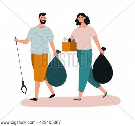 Male And Female Characters Are Collecting Trash With Equipment. Concept Of People Collecting Trash O