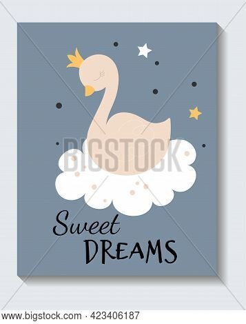 Cute Sticker Of Sleeping Dove With Sweet Dreams Lettering On Blue Background. Concept Of Positive Sh