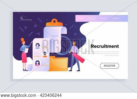 Female Character Is Recruiting People As Human Resources Manager. Concept Of Recruitment And Job Man