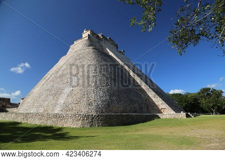 The Soothsayers Pyramid In Uxmal, Mexico. High Quality Photo