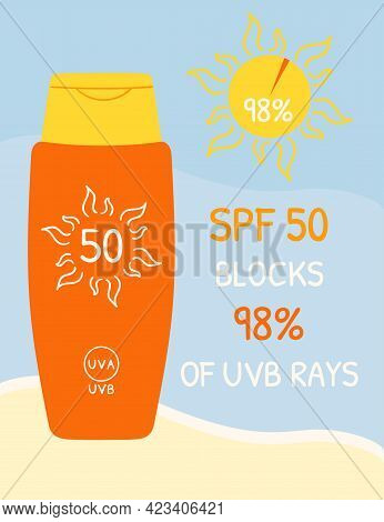 Sunscreen Bottles With Spf 50 That Blocks Uvb Rays. Sunscreen Protection Infographic On Beach Backgr