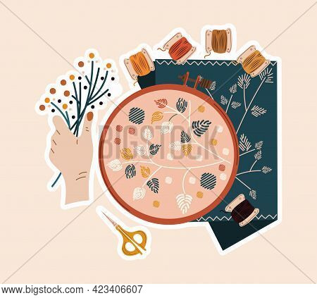 Cute Sticker Of Sewing Artwork With Flowers, Needle And Thread. Concept Of Sewing Or Needlework Stic
