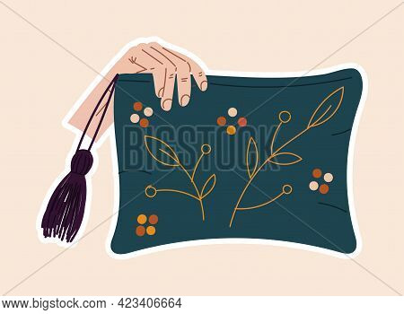 Cute Sticker Of Hand Holding A Pillow Sewed With Flowers On Cloth. Concept Of Sewing Or Needlework S