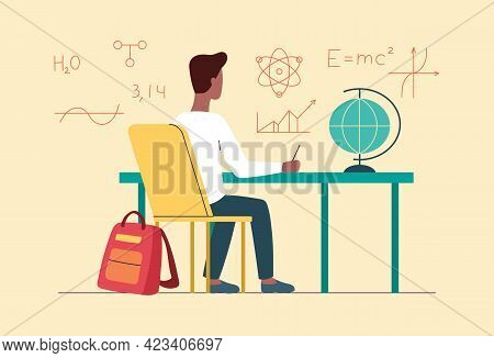 Young Male Character Is Sitting At Desk And Studying At Home. Concept Of Online Education, Distance