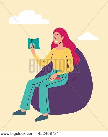 Young Smiling Female Character Is Reading On Bean Bag Chair. Woman Is Holding Book In Her Hand. Fema