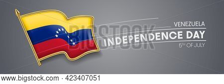 Venezuela Independence Day Vector Banner, Greeting Card