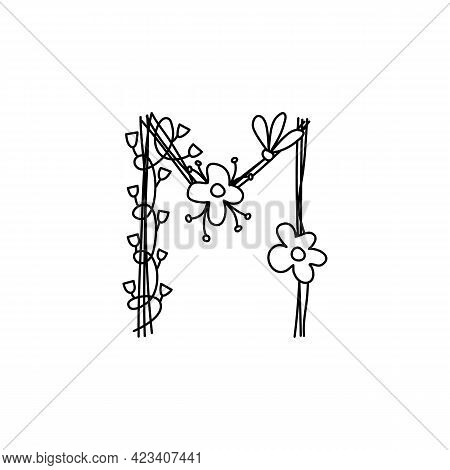 Vintage Floral Bold Letter M Logo Spring. Classic Summer Letter Design Vectors With Black Color And