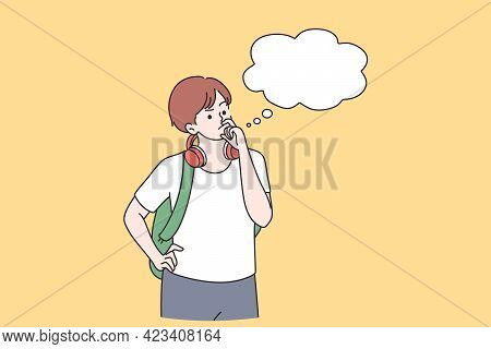 Thoughtfulness And Thinking Of Ideas Concept. Concentrated Curious Boy Cartoon Character Standing To