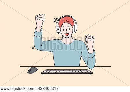 Gambling And Winning Victory Concept. Cheerful Enthusiastic Happy Man Cartoon Character Gamer Sittin