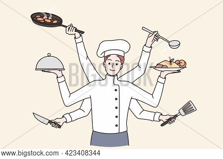 Multi Tasking Cooking Chef Concept. Smiling Young Multitasking Kitchen Chef Man Cartoon Character In