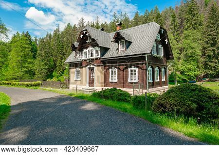Kjov, Czechia - 06.05.2021: Traditional Countryside Architecture In Northenmost Bohemia, Formerly In