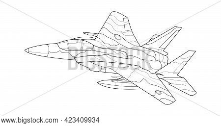 Adult Coloring Page For Book And Drawing. Vector . Black Contour Sketch Illustrate Isolated On White