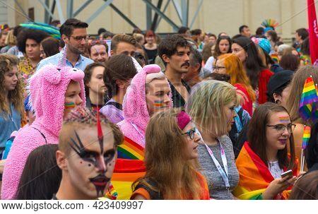 Graz, Austria - June 11, 2021: Happy, People At The Annual Gay Parade