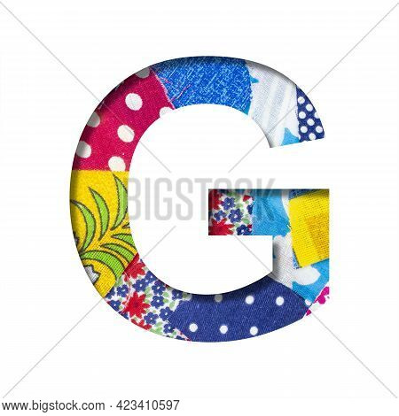 Handicraft Or Creative Font. The Letter G Cut Out Of Paper On The Background Of The Texture Of Piece