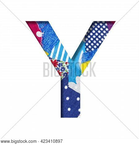 Handicraft Or Creative Font. The Letter Y Cut Out Of Paper On The Background Of The Texture Of Piece