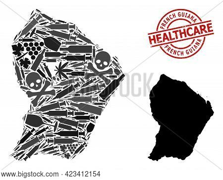 Vector Narcotic Collage Map Of French Guiana. Rubber Health Care Round Red Seal. Concept For Narcoti