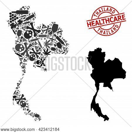 Vector Narcotic Mosaic Map Of Thailand. Grunge Healthcare Round Red Seal. Concept For Narcotic Addic