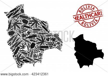 Vector Narcotic Collage Map Of Bolivia. Rubber Health Care Round Red Rubber Imitation. Template For