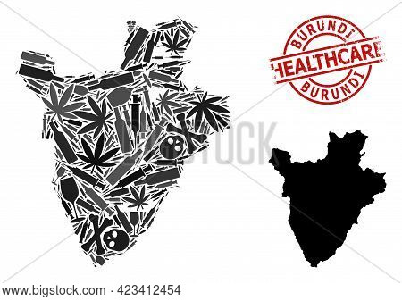 Vector Addiction Mosaic Map Of Burundi. Grunge Health Care Round Red Seal. Concept For Narcotic Addi