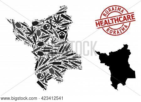 Vector Narcotic Collage Map Of Roraima State. Rubber Healthcare Round Red Rubber Imitation. Template