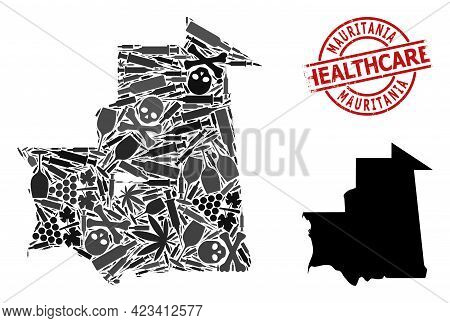 Vector Narcotic Mosaic Map Of Mauritania. Scratched Health Care Round Red Badge. Template For Narcot
