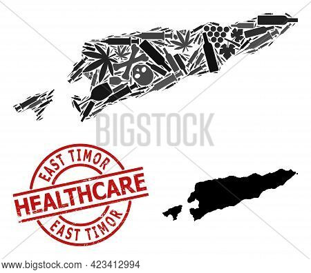 Vector Narcotic Collage Map Of East Timor. Scratched Health Care Round Red Imprint. Template For Nar