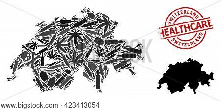 Vector Addiction Collage Map Of Switzerland. Rubber Healthcare Round Red Watermark. Template For Nar