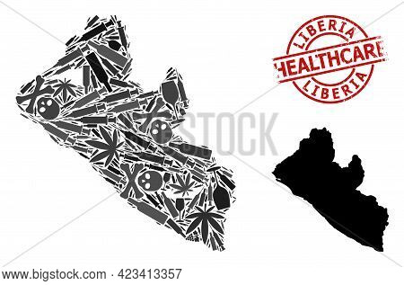 Vector Drugs Mosaic Map Of Liberia. Rubber Health Care Round Red Seal Stamp. Concept For Narcotic Ad