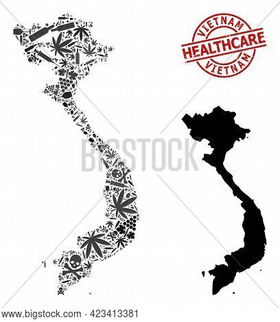 Vector Narcotic Collage Map Of Vietnam. Scratched Healthcare Round Red Watermark. Concept For Narcot