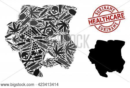 Vector Addiction Collage Map Of Suriname. Rubber Health Care Round Red Seal. Concept For Narcotic Ad